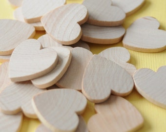 CRAFT ROOM CLEARANCE - 1'' Flat Wooden Hearts - 180 pieces