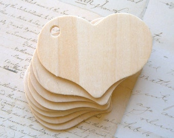 6 Heart Wood Gift Tags