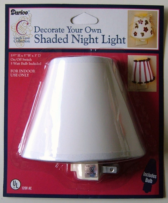 CRAFT ROOM CLEARANCE - Shaded Night Light - Decorate Your Own - as seen on Martha Stewart