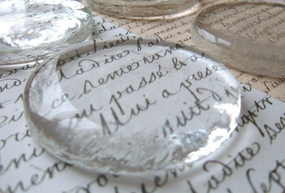 24 Jumbo Molded Flat Bottom Clear Glass Paperweight Circles - 2.25''