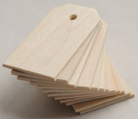 4 Wood Gift Tags - 3 1/4'' Tall