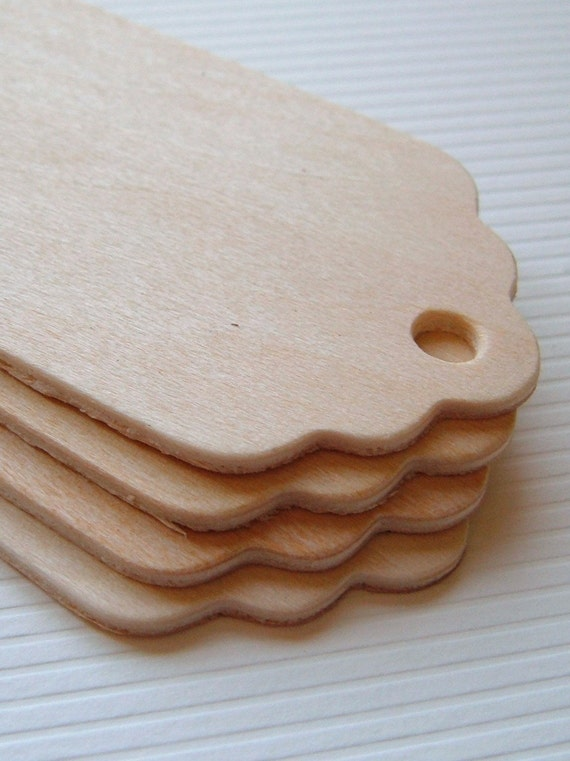100 Scalloped Wood Gift Tags - 3'' Tall
