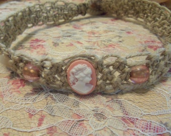 Classic Pink Cameo Hemp Necklace