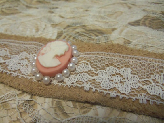 Pink Cameo, Faux Pearl, Vintage Lace and Leather Bracelet