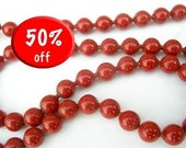CLOSE OUT SALE (LAST THREE) HUGE Vintage Bright Red Enamel Ball Chain (2 feet) (C75)
