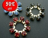 CLOSE OUT SALE Vintage Jet Black Siam Red and Sapphire Blue Swarovski Rhinestone Crystal Circle Connector Charms (18mm)(x6) (S53)