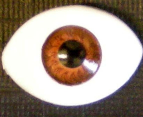 Vintage Plastic Brown Pupil Colored Eyeball Cabochons (13mm) (x12)