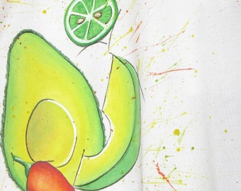 SALE  hand painted Avocado Shirt
