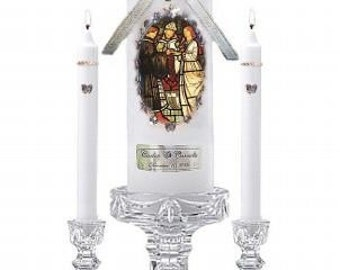 Religious favor  Victorian CROSS UNITY Wedding CANDLE