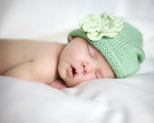 Handknitted Bamboo Baby Beanie with flower attached