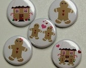 Gingerbread People Set of 5 Buttons Pins Badges 1 inch