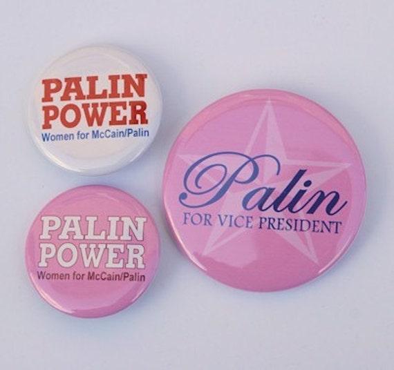 Sarah Palin Buttons Pins Badges Set of 3
