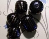 Vintage Black and Gold Ceramic Beads