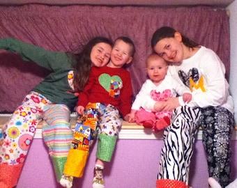 MISMATCHED MASTERPIECE flannel pajama/Lounge pants.  Adult sizes small, medium, large, xl, 2x, 3x
