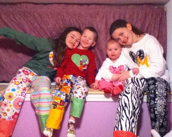 Design your own pajama pants Size children's sizes 0-3 to 16.  Adult sizes to 3X available...so fun and unique