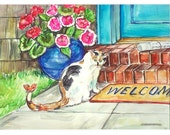 WELCOME CAT 11x15 original watercolor painting OOAK, Cat, Kitten, Feline, Flower, Doorstep. Butterfly