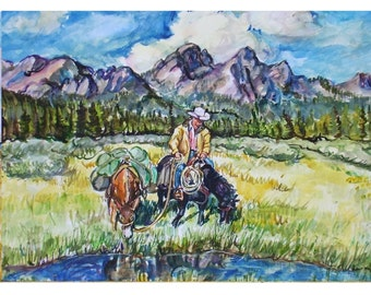 MOUNTAIN RIDER -  11x15 original watercolor landscape painting OOAK, Western, Mountain, Cowboy, Horse, Rider