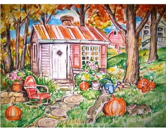 OCTOBER BUNNIES - 11x15 original watercolor landscape painting OOAK, Autumn, Fall, Bunny Rabbit, Farm, Country, Pumpkins, Barn, Leaves