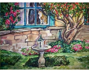 SECRET GARDEN  -  11x15 original watercolor landscape painting OOAK, Garden, Flower, Cat, Kitten, Feline, Tree,Wall