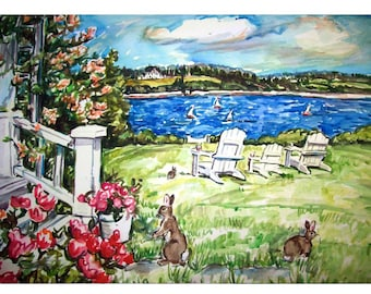 LAKE BUNNIES -11x15 original watercolor landscape painting OOAK, Animal, Bunny, Rabbit, Lawn, Lake, Yard, Flower, Boat, Lawn Chair
