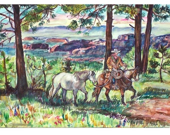 WHISPERING PINES- 11x15 Signed Original Watercolor Painting,Western, Cowboy, Horse, Pines, Arizona