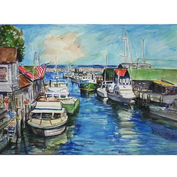 Fish Town 11x15 Original Watercolor Landscape Painting