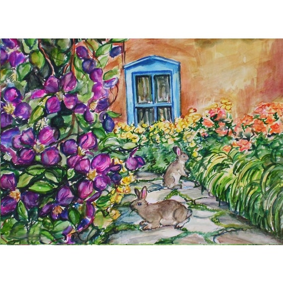 Garden Bunnies  11x15 original watercolor landscape painting OOAK, Flower, Bunny, Bunny Rabbit, Garden Path