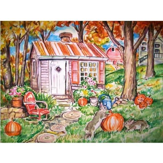 OCTOBER BUNNIES - 11x15 original watercolor landscape painting OOAK, Autumn, Fall, Bunny Rabbit, Farm, Country, Pumpkins, Barn, Leaves