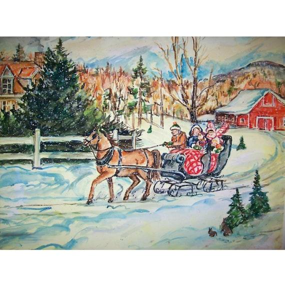 Sleigh Ride Country - 11x15 original watercolor landscape painting OOAK, Winter, Snow, Sleigh Ride, Sleigh,  Family, Horse, Farm, Barn