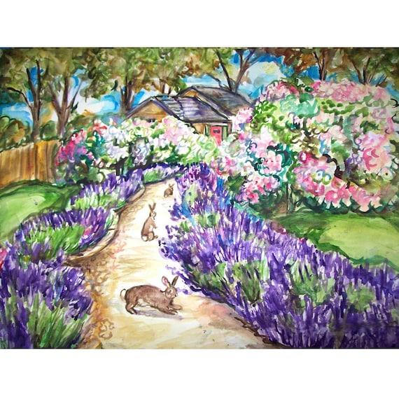 LAVENDER LANE BUNNIEs - 11x15 original painting landscape watercolor OOAK, Original, Bunny, Bunny Rabbit, Rabbit, Flower,  Garden Path