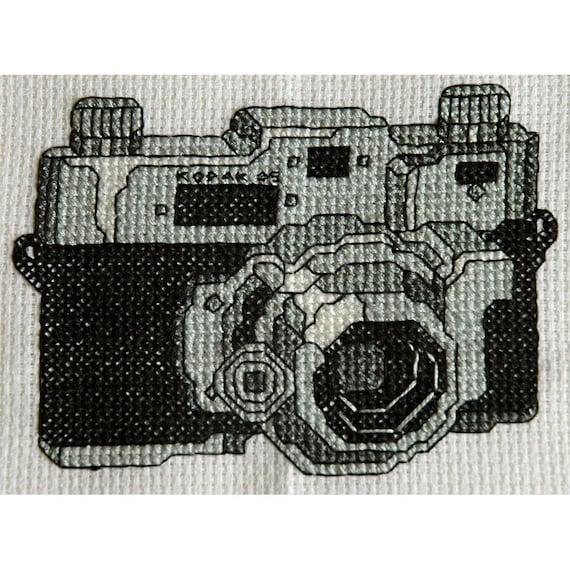 Cool Cross Stitch Pattern- Vintage Retro Black and White Kodak Camera