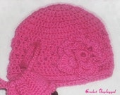 Pink cloche with flower brooch - Ready-to-ship