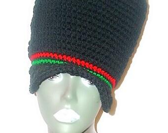 Crochet Dread Tam Reppin' Red Black Green Ready-to-Ship