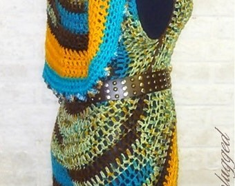 Mandala Vest - Hand crocheted Circle Vest - Ready-to-Ship