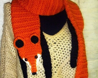 WTF... Wrap The Fox Faux Fox Scarf - Funky - Hip - Cool - Hand crocheted - Accessory