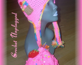 Strawberry cupcake drawstring purse and earflap hat