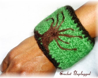 Hand-crocheted and Felted Whimsical Winter Tree Cuff (The Mighty Oak)  - Made-To-Order