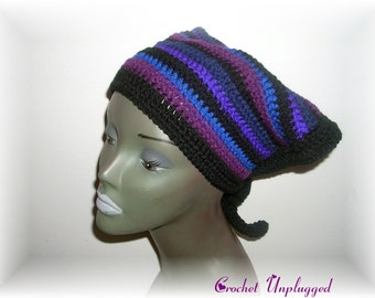 Striped Hand-Crocheted Head Scarf (Kerchief) Ready-to-Ship