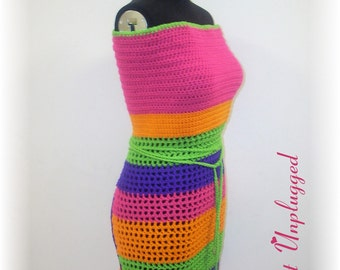 Colors Pop - Hand crocheted Apron-style Halter top - Made to Order - Small Ready-To-Ship