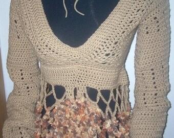 Ships Immediately - Hand crocheted V-neck midriff sweater