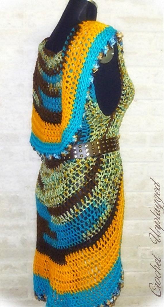 Free Crochet Pattern For Mandala Vest : Mandala Vest Hand crocheted Circle Vest Ready-to-Ship