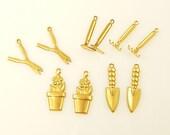 Brass Garden Charms, Flower Charm, Gardening Rake Hoe Tool Charms, Charm Assortment |G11-11|10