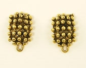Tribal Earring Posts, Gold Plated Ethnic Earring Findings, Antique Gold Plated Bumpy Ethnic Earring Posts |Q1-6|2