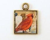 Bird Charm Cardinal Red Garden Flower Floral Leaf Square Antique Brass Pendant