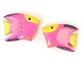 Fish Beads, Pink and Yellow Fish Beads, Wood Fish Beads, Bright Fish Beads