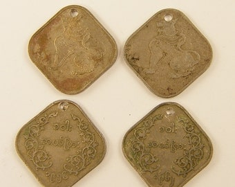 Metal Coins, Coin Charms, Ethnic Coins, Old Burmese Square Coins |CN1-2|4