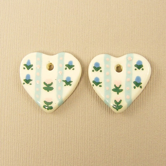 Heart Charms - Cream Blue Hand Painted Flower Ceramic Heart Charms
