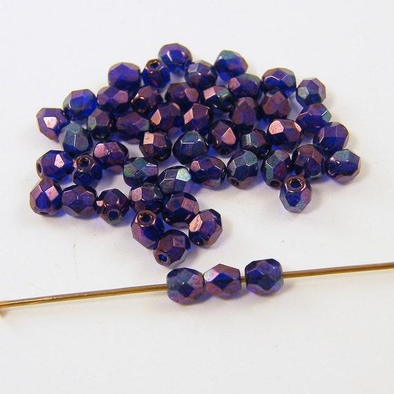Purple Beads, Purple Glass Beads, Purple Luster Beads, Purple Luster Czech Glass Beads 4mm Faceted Round
