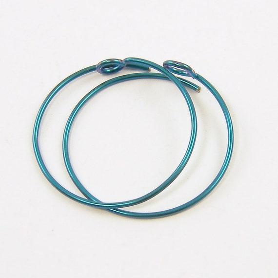 Niobium Ear Wires - Turquoise Aqua Earring Hoops Loops 17mm Niobium
