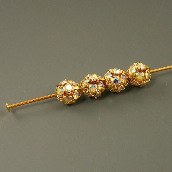 6mm Rhinestone Beads 6 mm Round Rhinestone Beads Gold Rhinestone Ball Beads